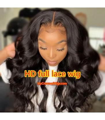 180% density HD Lace Brazilian virgin body wave full lace wigs [HD004]