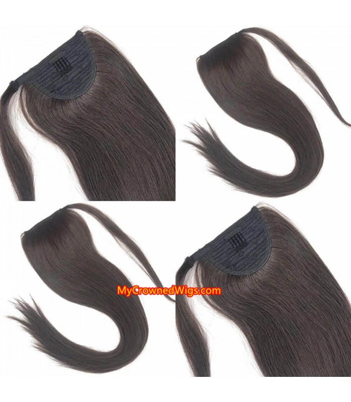 COMBS IN HUMAN HAIR PONYTAIL EXTENSIONS WRAP, PONYTAIL HAIRSTYLE 【MCW926】