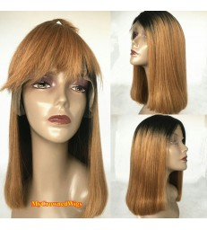BRAZILIAN VIRGIN LIGHT YAKI OMBRE COLOR BLUNT CUT BOB--[MCW402]
