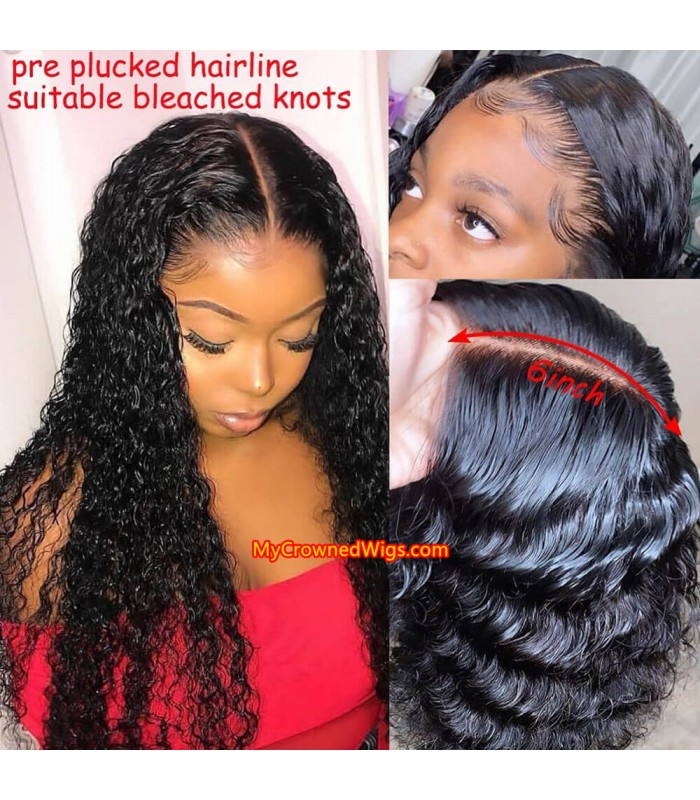 New 370 lace front human hair wig pre plucked with baby hair long deep parting【MCW371】