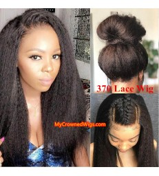 Italian Yaki 370 lace front human hair wig pre plucked with baby hair long deep parting【MCW372】