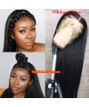 Silk straight 370 lace front human hair wig pre plucked with baby hair long deep parting【MCW370】