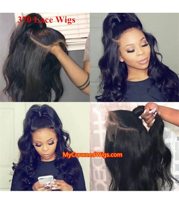 New 370 lace front human hair wig pre plucked with baby hair long deep parting【MCW373】