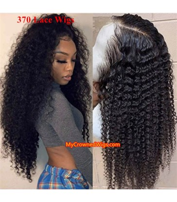 Kinky curly 370 lace front human hair wig pre plucked with baby hair long deep parting【MCW375】