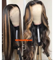 Honey Blonde Highlights Body Wave Human Hair 360 Lace Wig 【MCWB3】