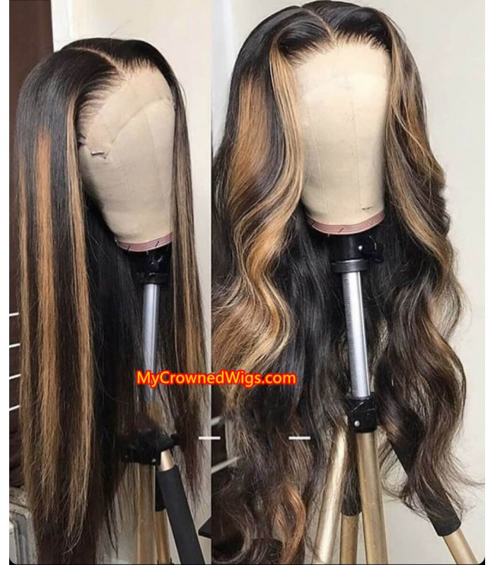 Honey Blonde Highlights - Ombre Loose Body Wave Human Hair Lace Wig 【MCWB3】