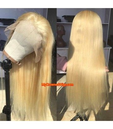 613 Honey Blonde Color Brazilian Straight Lace Front Human Hair Wig 【MCW333】