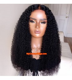 Deep curly 370 lace front human hair wig pre plucked with baby hair long deep parting【MCW376】