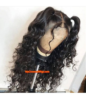 Beach wave 370 lace front human hair wig pre plucked with baby hair long deep parting【MCW378】