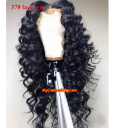 Beach curl 370 lace front human hair wig pre plucked with baby hair long deep parting【MCW380】