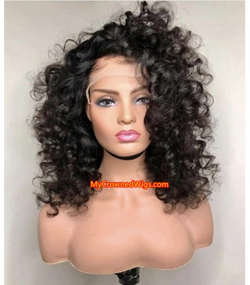 Big curls 370 lace front human hair wig pre plucked with baby hair long deep parting【MCW382】