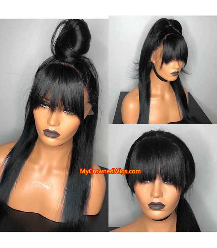 Brazilian virgin silk straight full lace wig with bangs -[MCW008]