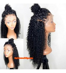 Stock 180% Density Spanish Curl Brazilian virgin human hair 360 Lace Frontal Wigs [MCW365]
