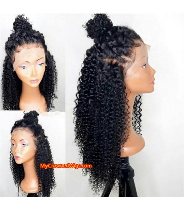 Brazilian virgin Spanish curl 360 wigs with pre plucked hairline--[MCW365]