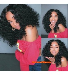 Brazilian virgin human hair Short Wavy 360 wigs with pre plucked hairline--[MCW555]