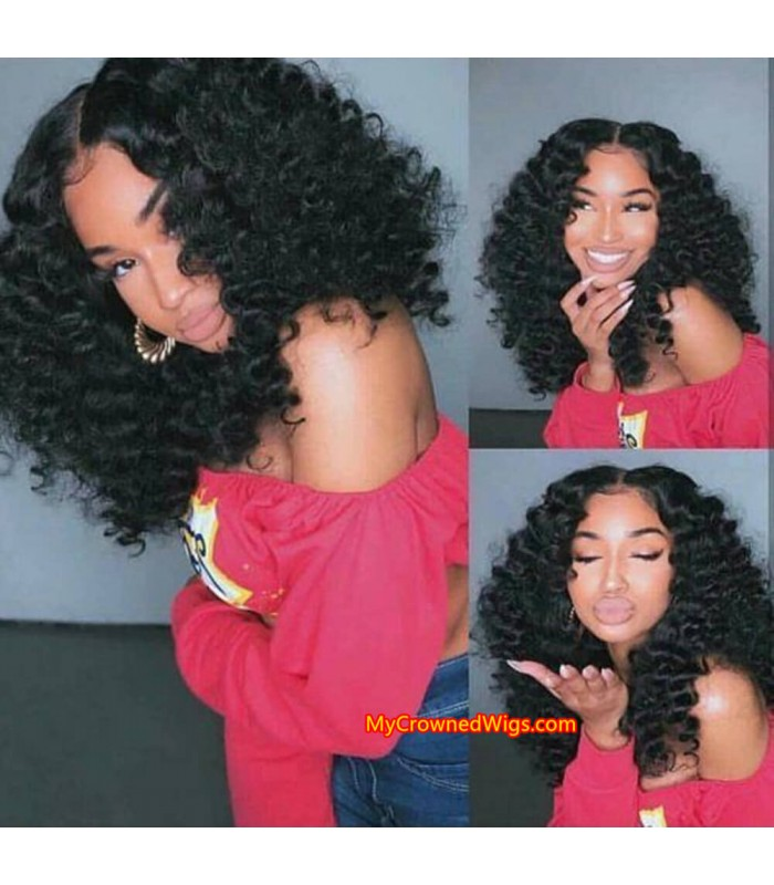 Brazilian virgin human hair Short Wavy 360 wigs with pre plucked hairline--[MCW444]