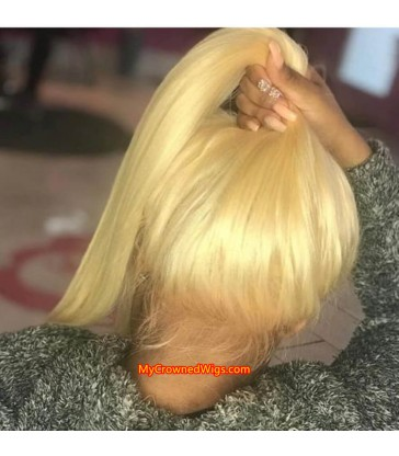 13x6 613 Blonde Brazilian Straight Human Hair lace front Wigs 【MCW333】