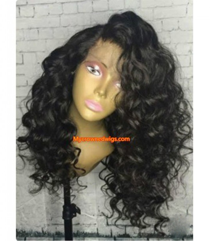 Brazilian virgin big deep wave 360 frontal wig -[MCW353]