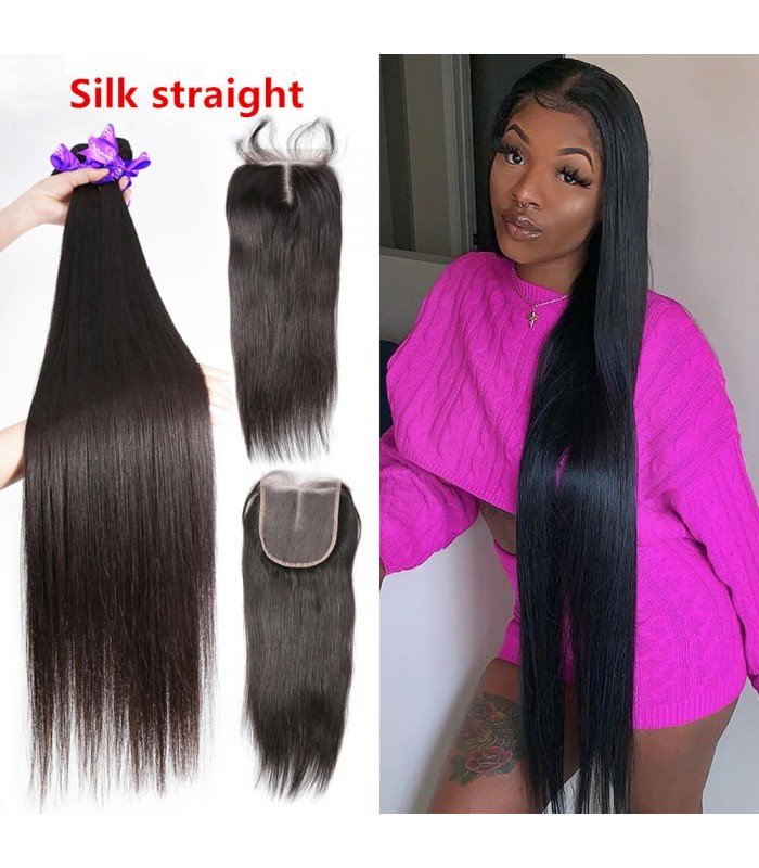 silk straight 3 brazilian virgin bundles with a lace closure [MCW937]