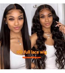 120% Density Brazilian virgin silk straight HD full lace wig -[HD002]
