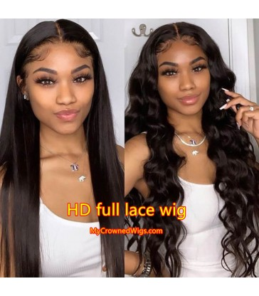 Brazilian virgin silk straight glueless HD full lace wig -[HD002]