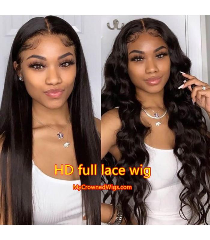 Brazilian virgin silk straight glueless HD full lace wig -[HD002]