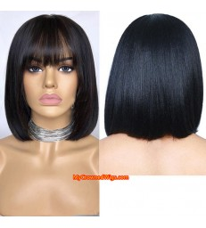 Malaysian virgin light yaki bang bob full lace wig-[MCWBB4]
