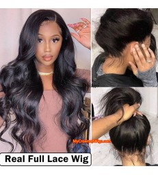 Brazilian virgin body wave bleached knots full lace wig-[mcw006]