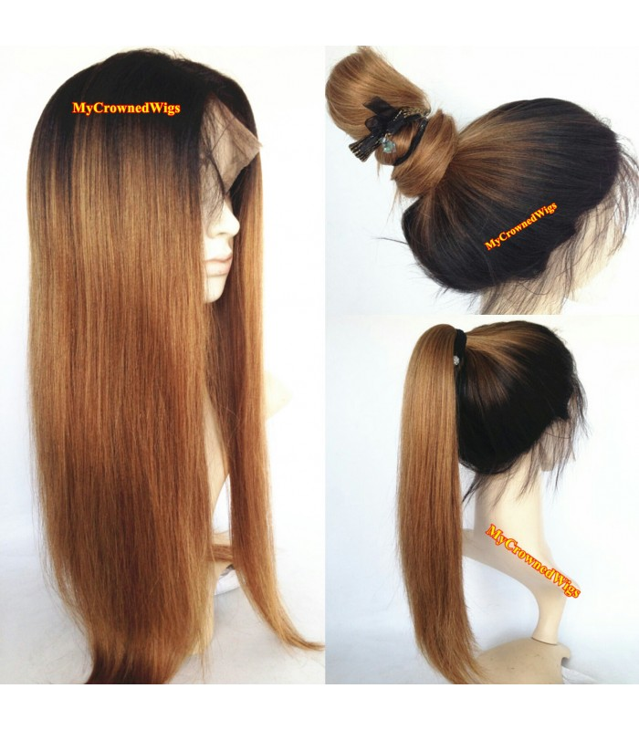 BRAZILIAN VIRGIN LIGHT YAKI OMBRE COLOR FULL LACE WIGS--[MCW401]