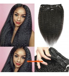 kinky straight human hair clips in hair extensions [MCW925]