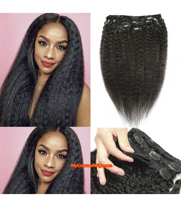 kinky straight human hair clips in hair extensions