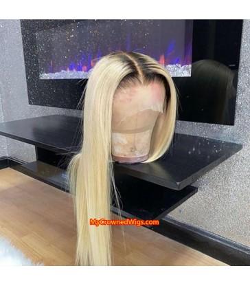 Brazilian virgin color 1b fade into color 613 straight full lace wig