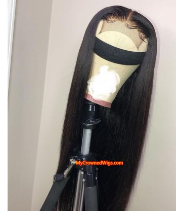 Straight 4*4 Lace Closure Wig 130% Density Brazilian Lace Front Human Hair Wigs Pre-plucked