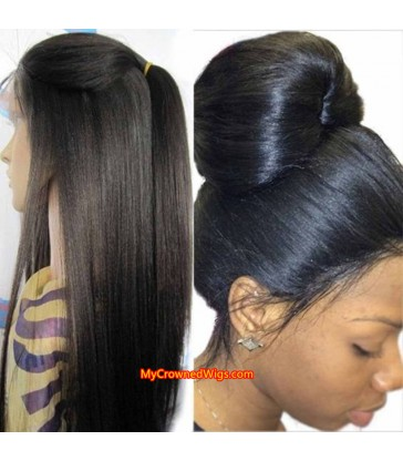 50% off--- Light Yaki 360 Lace Frontal Wig 180% Density Virgin Human Hair [MCW362]