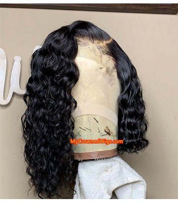 Brazilian virgin human hair curl bob 360 wigs with pre plucked hairline--[MCW366]