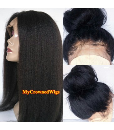 Brazilian virgin italian yaki 360 silk top frontal wig -[MCW361]