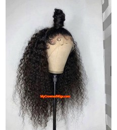 Brazilian virgin human hair kinky curl 360 frontal wig -[MCW355]