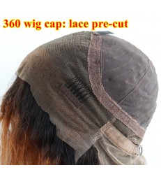 Lace pre-cut natural straight ombre blonde 360 wig cap