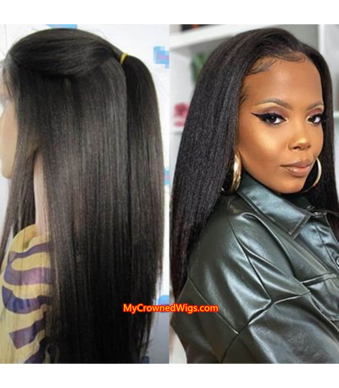 Light yaki 370 lace front human hair wig pre plucked with baby hair long deep parting【MCW386】