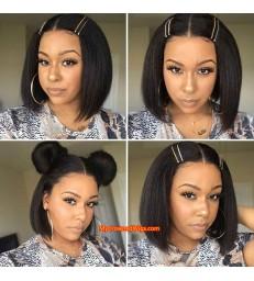 Yaki Mix Italian Yaki Bob Brazilian Virgin Human Hair Lace Front Wig [LF007]