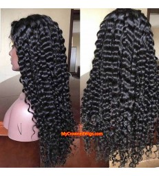Brazilian virgin human hair deep wave 360 wigs with pre plucked hairline--[MCW369]