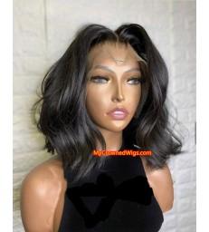 Brazilian virgin human hair long wavy bob 360 wigs with pre plucked hairline--[MCWCC3]